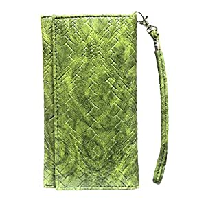 Jo Jo A5 Bali Leather Wallet Universal Pouch Cover Case For Motorola Moto G Forte Green