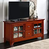 "Walker Edison 53"" Wood TV Stand with Drawers, Brown"