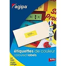 AGIPA Lot de 5 Btes 2400 étiquette 70x35 mm (24 x 100F A4) Multi-usage Coin Droit Jaune Fluo
