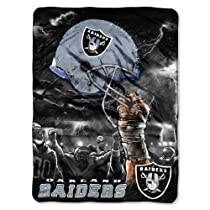 NFL Oakland Raiders 60-Inch-by-80-Inch Plush Rachel Blanket, Sky Helmet Design