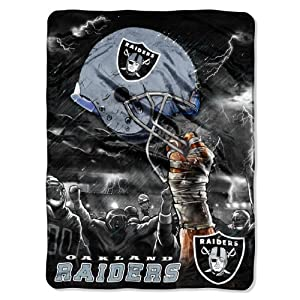 NFL Oakland Raiders 60-Inch-by-80-Inch Plush Rachel Blanket, Sky Helmet Design by Northwest