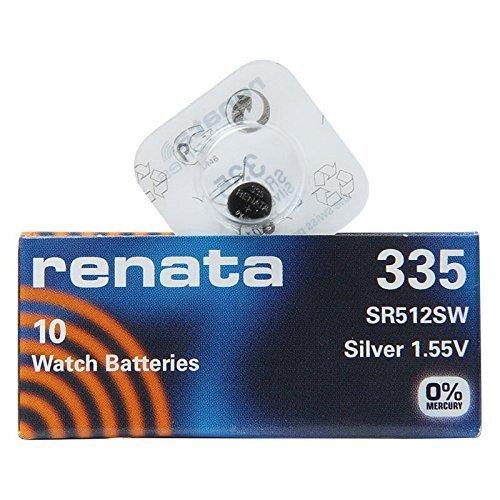 Renata 335 SR512SW 1 (Lot de 10) Argenté 1,55 V pour montre fabriqué en Suisse