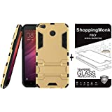 Shoppingmonk Heavy Duty Shockproof Armor Kickstand Back Case Cover For Xiaomi Redmi 4 [Gold] + Premium 2.5D Curved 9H Hardness Tempered Glass Screen