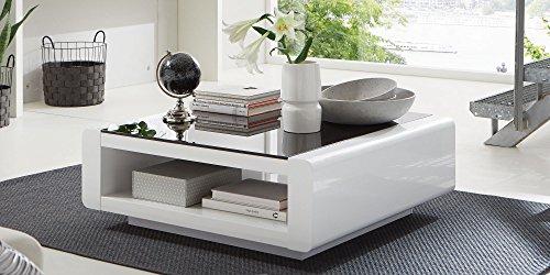 Couchtisch-quadratisch-Hochglanz-Lack-Schwarzglas-Soleil-Wei-100x100cm
