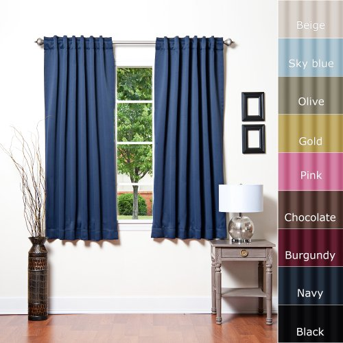 Solid Thermal Insulated Blackout Curtain 52W X 63L- 1 Set
