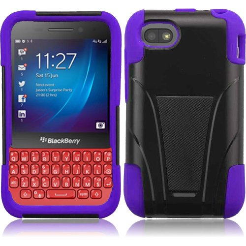 Cell Accessories For Less (Tm) For Blackberry Q5 T-Stand Cover Case - Black+Purple // Free Shipping By Thetargetbuys