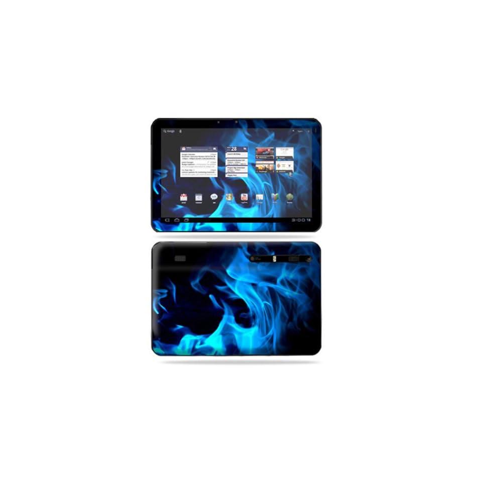 Protective Vinyl Skin Decal Cover for Motorola Xoom Tablet sticker skins Blue Flames