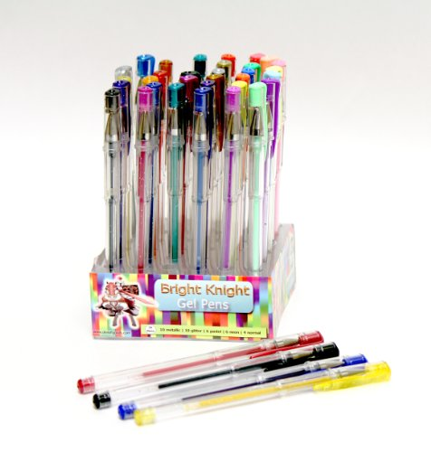 Gel Pens - 36 Gel Pen Set - Pack - Bright Knight Quality Gel Ink Pens | Multi Coloured | Fine Ink Ballpoint Pens | Smooth, Anti Skip, Vibrant Color - Neon , Pastel, Metalic, Glitter | A Great Range of Colors in This Gel Pen Set | Manufactured to the Highest Standard and Complete with a Full Product Replacement Guarantee.