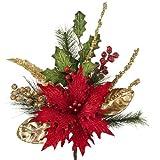 RAZ Imports - Red Poinsettia Spray 18