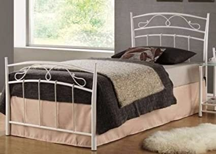 Ehebett Metallbett Doppelbett Schlafzimmer Bett Jugendbett SIENA NEU Metall (90cm x 200cm, Weiß)