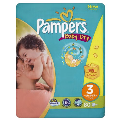 Pampers Baby-Dry Size 3 (9-20 lbs/4-9 kg) Nappies - 4 x Packs of 80 (320 Nappies)