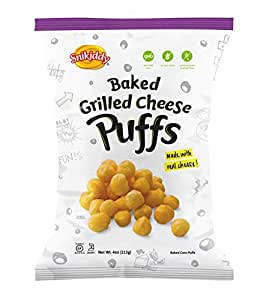 Snikiddy All Natural Baked Corn Puffs, Grilled Cheese, 4-Ounce Bags (Pack of 12)