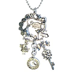 Alice In Wonderland Pendant Cluster Silver Plated 16