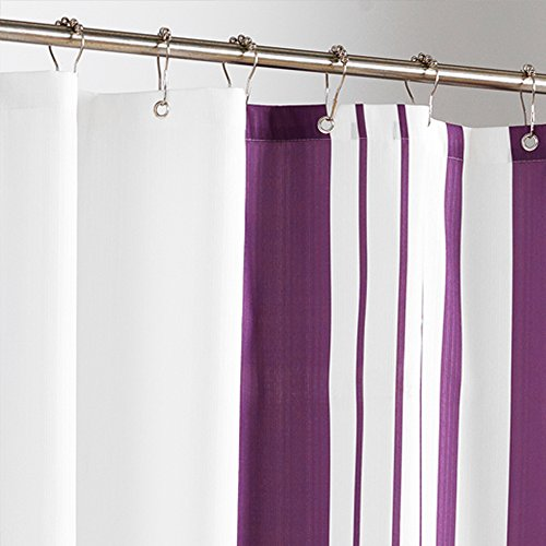 Uphome 72 W 78 H Inch Shower Curtain Purple Stripe White Shower Curtain Or Liner Waterproof
