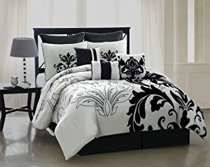 Amazon Com 9 Piece Queen Arroyo Black And White Bedding
