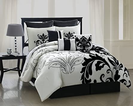 Superb  Piece Queen Arezzo Black and White Bedding Comforter Set