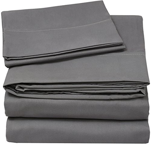4 Piece Bed Sheets Set (Full, Grey) Flat Sheet - Fitted Sheet - 2 Pillow Cases - Premium Quality Soft Brushed Microfiber Wrinkle Fade & Stain Resistant - Luxury Bedding Sets - by Utopia Bedding (Full Bedding Sheets compare prices)