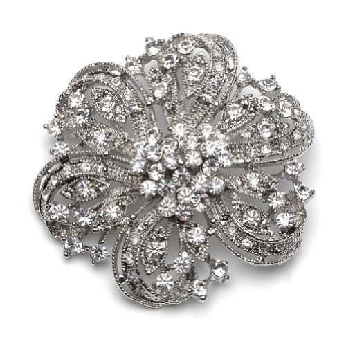Rhinestone Silver Vintage Wedding Brooch Pin