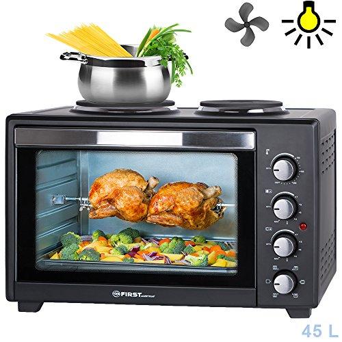 45-Liter-3200-Watt-Mini-Backofen-mit-Kochplatten-Drehspie-und-Umluft-Mini-Pizzaofen-Mini-Kche-Kochplatten-separat-bedienbar-gleichzeitig-kochen-und-backen