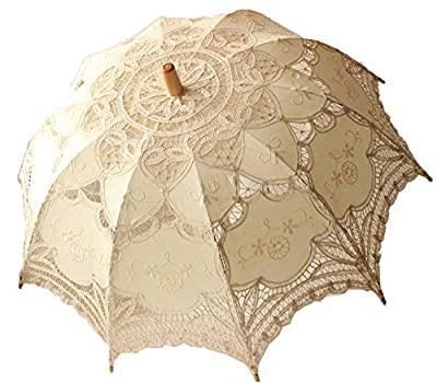 NO:1 Mode Spitze Romantische Hochzeit Party Sonnenschirme Foto Requisiten Regenschirm - Weiß