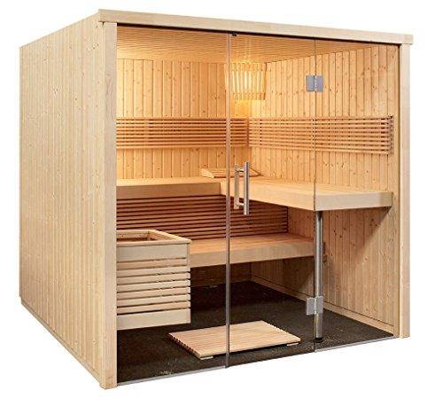 Sauna-214-x-210-x-201-cm-Panorama-mit-Glasfront-Harvia-Edelstahl-Bio-Saunaofen-Feuchtefhler