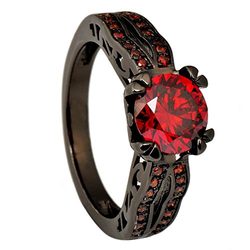JunXin® Black Gold 8MM Round Dark Red Ruby CZ Filled Solitaire Ring Engagement Size5/6/7/8/9/10/11(7)