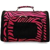 World Traveler Hot Pink Zebra Soft-sided Dog Cat Pet Carrier Small, 14-inch