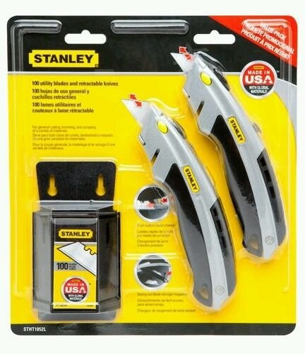 2 Stanley Knives W/ 100 Pack Blades Value Pack