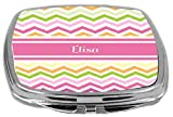 "This Rikki Knight Letter ""W"" Initial Hot Pink Leopard Print And Stripes Monogrammed Compact Mirror Is The Perfect Sized Mirror To Slip Into Your Pocket, Purse, Bag, Pencil Case, Or Any Bag And Features Quality Vibrant Images That Will Not Fad..."