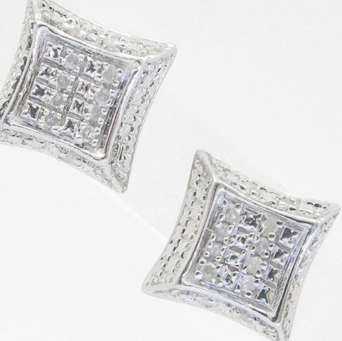 Mens 925 Sterling Silver earrings fancy stud hoops huggie ball fashion dangle white small square curved pave earrings