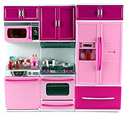 My Happy Kitchen Dishwasher Oven Refrigerator Battery Operated Toy Doll Kitchen Playset W/ Lights, Sounds, Perfect For Use With 11 12