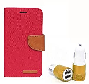 Aart Fancy Wallet Dairy Jeans Flip Case Cover for OnePlusOnePlus2 (Red) + Dual USB Port Car Charger with Smartest & Fastest Technology by Aart Store.