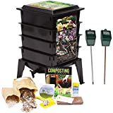 Worm Factory 360 Composting Bin + Moisture and pH Testing Meter Worm Farm Kit (Black)