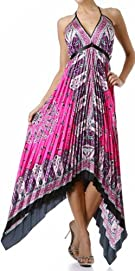 Sakkas Silk Feel Pleated Pleated Handkerchief Hem Adjustable Maxi / Long Dress