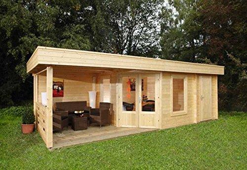 Wolff-Pultdachhaus-Maja-40-B2-Raum-mit-Terrasse-Bohlenauenma-B-x-T-453-x-299-cm-Dachstand-B-x-T-753-x-349-cm-Wandstrke-40-mm-Rauminhalt-467-cbm-Bauweise-Blockbohlenbauweise-Ausfhrung-naturbelassen