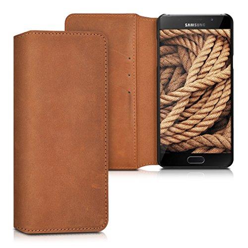 kalibri-Echtleder-Tasche-Hlle-fr-Samsung-Galaxy-A5-2016-Case-mit-Fchern-und-Stnder-in-Cognac