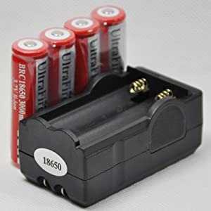 UltraFire 18650 3000mAh 3.7V Rechargeable Li-Ion Battery (four) + Charger Combo for led light flashlight torh