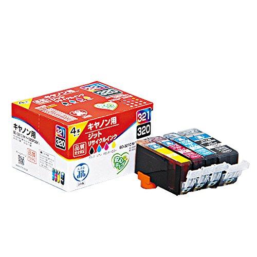 キヤノン BCI-321C/M/Y+320PGBK 4色セット対応 ジットリサイクルインク JIT-C3203214P 日本製