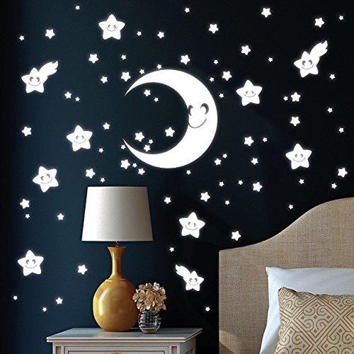 """Wandtattoo Loft """"Halbmond mit 75 niedlichen Sternen Gesichter"""" Leuchtaufkleber – Wandtattoo fluoreszierende leuchtende Sticker für einen tollen Sternenhimmel im Kinderzimmer günstig bestellen"""