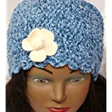Hand Crocheted 100% Rayon Denim Color Chenille and Rayon Cotton Gimp Skull Cap for Women and Teens Trimmed with Ivory Velvet Flower