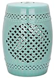 Safavieh Castle Gardens Collection Quatrefoil Ceramic Garden Stool, Light Blue