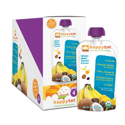 HAPPYBABY Happy Tot – Stage 4: Banana, Peach, Prunes and Coconut, 4.22  Ounce Pouch (Pack of 16)