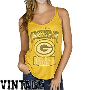 NFL Ladies Green Bay Packers Touchdown Tank Yellow By Junk Food by Junk Food