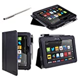 "i-BLASON Kindle Fire HD 7"" inch Tablet Leather Case Cover / Stylus (With Smart Cover Function: Automatically Wakes and Puts the Kindle Fire HD to Sleep) (16GB WiFi) 3 Year Warranty (Black)"