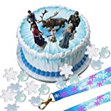 Disney Frozen Cake Decoration Set - Topper Figures & Rings & Birthday Lanyard