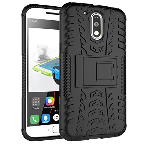 Chevron-Hybrid-Kick-Stand-Back-Cover-Case-for-Moto-G4-Plus4th-Generation-Black