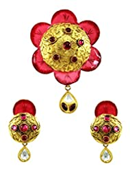 Designer Antique Gold Finish Floral Pink Enamelled Pendant Set