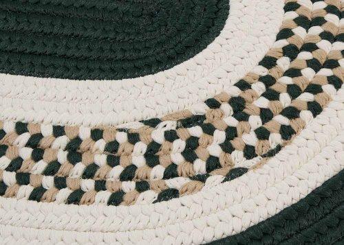 Braided Area Rug 10Ft. X 10Ft. Round Dark Green Childrens/Nursery Carpet front-845889