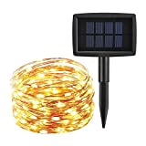 ieGeek LEDイルミネーションライト ソーラー充電式 光センサー内蔵 発光モードは8パターン 屋外用 防水IP64 フェアリーライト ガーデンライト高輝度 高品質クリスマスやイベントに最適! (200球, ウォームホワイト)