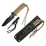 Fixed Blade with Fire starter + Whistle Laced Knife And sheath